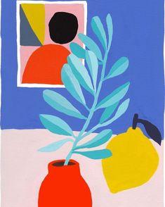 Coyote Atelier illustration love: bright colors in this arrangement by Léa Maupetit - Olive branch Illustration Inspiration, Illustration Art, Guache, Grafik Design, Art Plastique, Pattern Art, Illustrations Posters, Art Inspo, Painting & Drawing