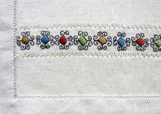 Costume and Embroidery of Sárköz, Hungary Hungarian Embroidery, Embroidery Motifs, Types Of Embroidery, The Man Show, Folk Clothing, Linen Apron, Geometric Designs, Hungary, Art Forms