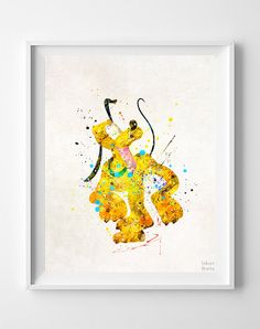 Pluto Print Pluto Watercolor Art Disney Poster by InkistPrints