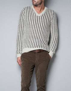 KNITTED SWEATER WITH STRIPES - ZARA