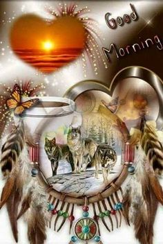 Dreamcatcher of beautiful Wolves. Native American Pictures, Native American Artwork, American Indian Art, Indian Wolf, Native Indian, Good Morning Coffee, Good Morning Friends, Wolf Images, Samana