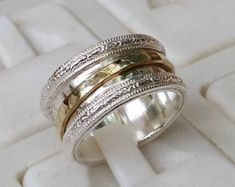 Spinner Ring Silver And Gold ,Handmade Spinner Band ,Silver Spinner Ring ,Bride and Groom Wedding Ri Gold Jewellery Design, Gold Jewelry, Beaded Jewelry, Thin Gold Rings, Silver Rings, Peridot And Amethyst, Groom Ring, Silver Engagement Rings, Wedding Ring Bands