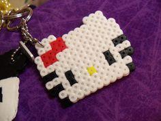 small hello kitty perler bead keychain