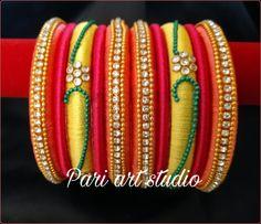 silkthread bangle set best with traditional look Rakhi Making, Traditional Looks, Bangle Set, Silk Thread, Art Studios, Fabric, Pink, Jewelry, Tejido