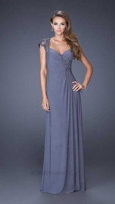 989a85e9397 Sweetheart Chiffon La Femme 20487 Gunmetal Long Prom Dresses Outlet Cheap Prom  Dresses
