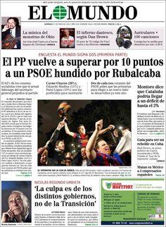 Los Titulares y Portadas de Noticias Destacadas Españolas del 12 de Mayo de 2013 del Diario El Mundo ¿Que le parecio esta Portada de este Diario Español?