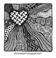 My Small Stones: Zentangle- love the way the heart pops out of the rest of the picture.