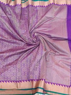 Pure Colour Thread woven Pure cotton saree with Purple Plain Blouse