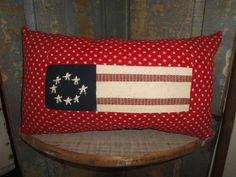 Americana Pillow   Stars And Stripes Pillow    Old Glory Pillow   Primitive Flag Pillow   Red, White And Blue Pillow