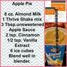 Thrive lifestyle mix, makes the best shakes… Thrive Diet, Thrive Le Vel, Apple Pie Smoothie, Smoothie Recipes, Protein Smoothies, Milkshake Recipes, Fruit Smoothies, Thrive Shake Recipes, Weigth Watchers