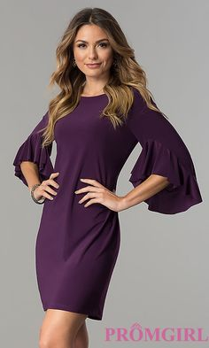 Short Wedding-Guest Dress with Bell Sleeves