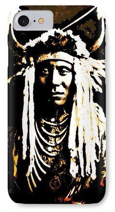 The Piikani Nation IPhone 7 Case featuring the mixed media Head Carry-piegan Blackfoot Indian by Otis Porritt