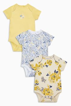 2a4e9324048 Buy Yellow White Giraffe Floral Bodysuits Three Pack from the Next UK  online shop