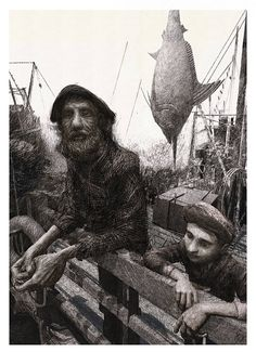 "@ Claudio Losghi illustration ""The old man and the sea"" Art Et Illustration, Illustrations, Space Drawings, Arte Horror, Sea Art, Amazing Drawings, Black And White Illustration, Sculpture Art, Sculptures"