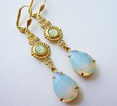 Pale Opal Sea Green and Filigree Drop Earrings - Romantic - Lightweight- Estate Style