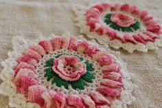 Vintage Kitchen Linens - Hand Crocheted Potholders