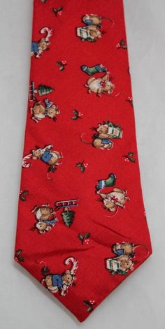 """Christmas Vintage Necktie Cotton Red w/mouse 52-1/2"""" X 3-1/2"""" #Handmade #Tie"""