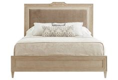 Alessandra Upholstered Bed, Wheat/Tweed