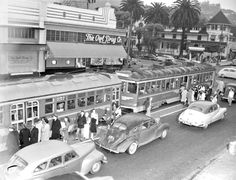Looks like its peak hour at the corner of Hollywood Boulevard and Highland Ave with lots of commuters getting into streetcars heading north into the San Fernando Valley in the late 1940s. The people in this photo probably took it all for granted, but I do like seeing The Owl Drug Co. on the southwest corner and the Hollywood Hotel on the northwest corner.