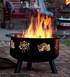 Enjoy evening fun with family and friends, gathered around the patriotic glow of our Flags & Fireworks Steel Fire Pit With Spark Guard Lid. You can even grill on it!