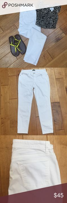 """Eileen Fisher white denim This is a cute pair of Eileen Fisher white jeans. Size 8. There are five pockets and a zipper fly. Inseam is 28"""". No holes or stains. Eileen Fisher Jeans"""