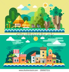 Summer landscape: sea, sun, beach, sand, tropical island, palm trees, elephants, bungalows, houses, quay. Background for site or game. Vector flat illustrations - stock vector