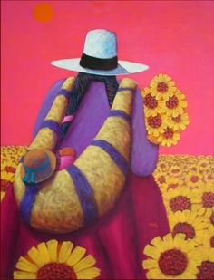 Peruvian Sunflowers by Lowell Herrero Hispanic Art, Peruvian Art, Mexico Art, Silk Art, Naive Art, Stencil Painting, Indian Art, American Art, Unique Art