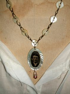 Simply Romantic Tintype and Antique Button Necklace by amywren, $26.00