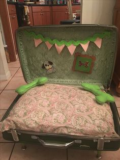 Dog Bed made out of vintage suitcase