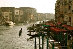 Venice, Italy  A view from the Rialto Bridge at sunset