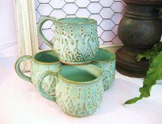Hand thrown Mediterranean Ceramic Coffee Mug-set of 4 $80  etsy.com
