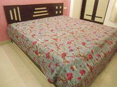 #Handmade Bird of #Paradise #kantha #bed #cover indian #kantha #blanket #bedding