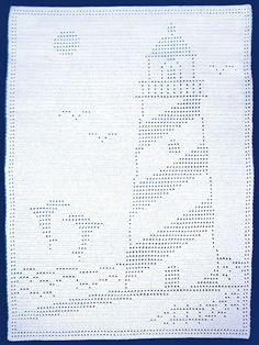 Crochet - Afghan & Throw Patterns - Easy Filet Lighthouse With Dolphins Afghan