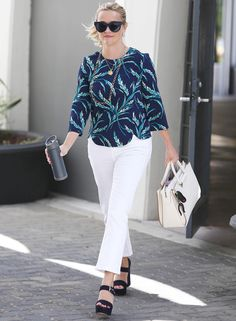 9-to-5 Celebrity-Inspired Fashion Formulas to Wear to Work This Week - FRIDAY: Printed Top + White Pants + Platform Sandals from InStyle.com