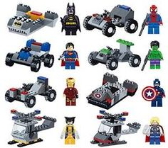 (via Amazon.com: Lot of 16 Set Building Block Toy Action Mini Figure Super Heroes with Vehicle Kids Gift Compatible With Lego: Toys & Games)