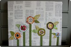 cute book-page flower canvas!
