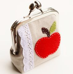 Apple Coin Purse, Teacher Gift, Metal Kisslock Applique Pouch in Oatmeal Linen, Light Blue, and Red - Made To Order from Kenai. Saved to Fun Stuff. Cute Coin Purse, Frame Purse, Purse Tutorial, Bag Packaging, Fabric Bags, Inspirational Gifts, Small Bags, Clutch Wallet, Teacher Gifts