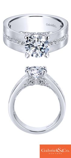 A sleek 14k White Gold Diamond Straight Engagement Ring for the modern bride-to-be. Discover your perfect engagement ring at Gabriel & Co.