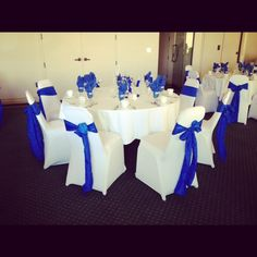 Our all time favorite color combination for any event! Our Royal Blue Crinkled Taffeta Sashes/White Spandex Chair Covers! Perfect for a boy's baby shower! www.bayarealinens.com