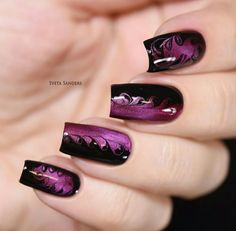 Magnetic dry marble nail art, needle drag