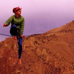 """""""I was so scared!"""" says Kelsey of her first highline. """"But when I mustered up the courage, it was much easier than expected. Sometimes you just have to breathe. Go Outdoors, The Great Outdoors, Bungee Jumping, Outdoor Woman, Female Athletes, Get Outside, Rock Climbing, Sports Women, Outdoor Activities"""