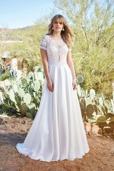 65f03e38ca Style 6422  Chiffon A-Line Gown with Lace Bodice and Sleeves