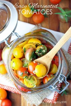 Easy Marinated Cherry Tomatoes Recipe: Cherry tomato halves are marinated in herbs, garlic and olive oil for a healthy, delicious appetizer or side dish. These tomatoes are also great in salads, tossed with pasta, or as a topping for grilled chicken. #tomatoes #recipes #vegetables
