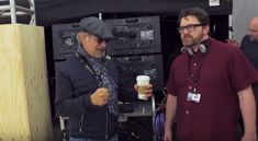 Steven Spielberg with Ready Player One author, Ernest Cline See more behind the scenes photos at The Bearded Trio