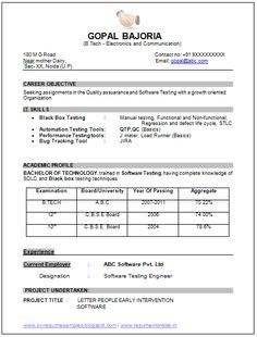 Ece Fresher Resume Format Download