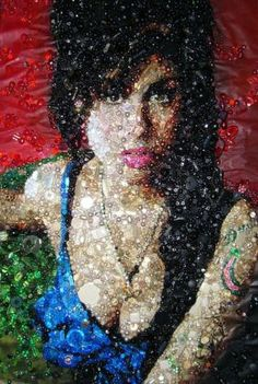 British artist Sarah Gwyer's portrait with buttons sewn onto it