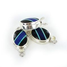 BLACK AGATE LAPIS CLASP TURQUOISE STERLING OVAL from New World Gems
