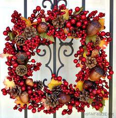 SO EASY to make! pine cone fall wreath