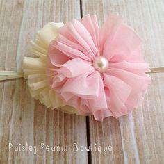 Light Pink and Cream Ballerina Flower Headband, toddler headband, little girls size. Made by Paisley Peanut Bowtique. Tulle Headband, Custom Bows, Toddler Headbands, Head Bands, Print And Cut, Diy Baby, Girl Stuff, Fabric Flowers, Bandana