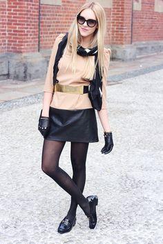 shoes Gucci  dress Zara  belt Maje (similar here from ASOS)  gloves H  scarf Gucci  sunnies Prada  bag Chanel  mar